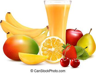 vektor, szín, ábra, gyümölcs, juice., friss
