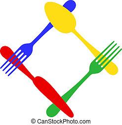vektor, színes, evőeszköz, keret