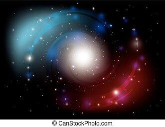 vektor, színes, spirál galaxis