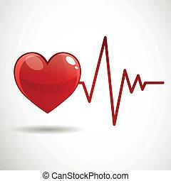 vektor, szív, frekvencia