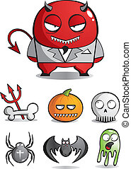vektor, szörnyek, caricatures