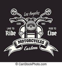 vektor, szöveg, szalag, embléma, motorkerékpár