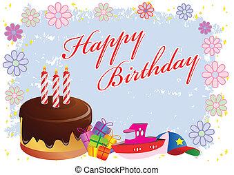 vektor, születésnap, színpompás, ábra, boldog