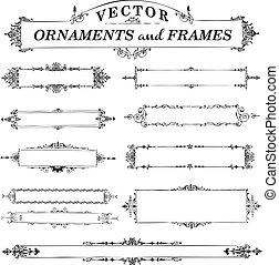 vektor, szüret, keret, állhatatos