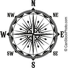 vektor, szüret, navigáció, iránytű, jelkép