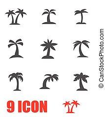 vektor, szürke, pálma, ikon, állhatatos