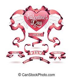 vektor, szalagcímek, állhatatos, nap, valentines