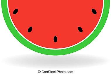 vektor, szelet, ábra, érett, watermelon.