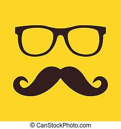 vektor, szemüveg, bajusz, ikon