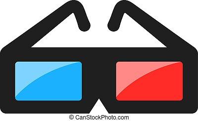 vektor, szemüveg, stereoscopic, mozi, ikon