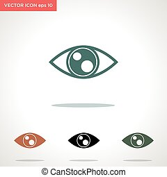 vektor, szem, fehér, ikon, elszigetelt, háttér