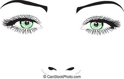 vektor, szemek, arc, nő, ábra