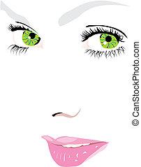 vektor, szemek, arc, nő, zöld, ábra