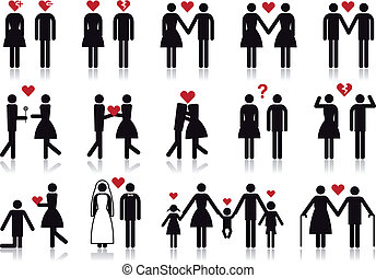 vektor, szeret, állhatatos, ikon, emberek