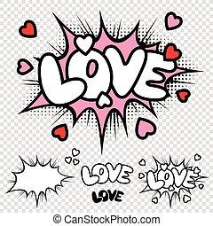 vektor, szeret, komikus, szöveg, ábra