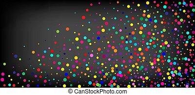 vektor, szivárvány, háttér., ünnepies, konfetti