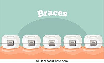 vektor, tænder, afstivninger