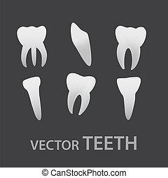 vektor, tænder, iconerne, eps10