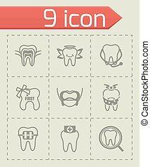 vektor, tænder, ikon, sæt