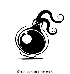 vektor, t�towierung, stil, aufkleber, kunst, illustration., blitz, gift, hand, blackwork, fleck, flasche, druck, gezeichnet, linie, oder