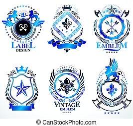 vektor, türme, elemente, mittelalterlich, kronen, collection., weinlese, ritterwappen, grafik, königlich, arme, auszeichnung, waffenkammer, andere, design, entworfen, sternen, mantel, style.