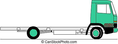 vektor, těžkopádný, podvozek
