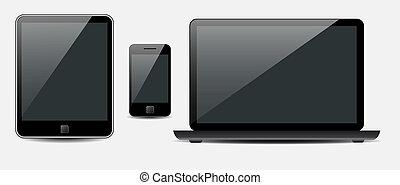 vektor, tablet, ambulant, laptop, telefon, computer