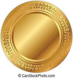 vektor, tablett, abbildung, gold