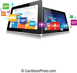 vektor, tablette, app