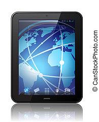 vektor, tablette, digital