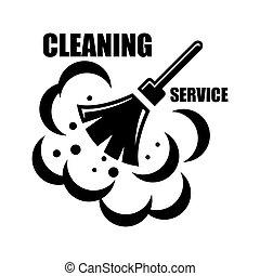 vektor, takarítás, szolgáltatás, ikon