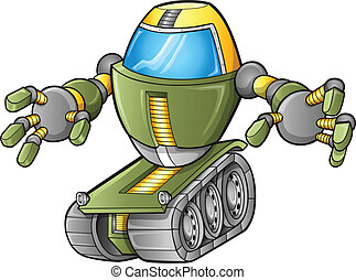 vektor, tank, roboter, übel