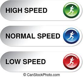 vektor, taste, von, geschwindigkeit, -, niedrig, normal,...