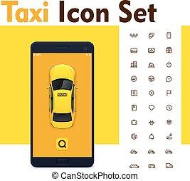 vektor, taxi, mobil, app, ikon, sätta