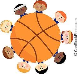 vektor, team., basketball, abbildung, kinder
