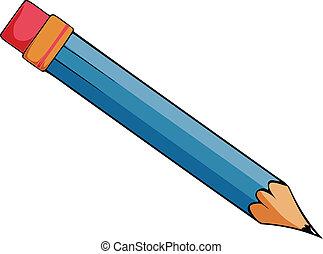 vektor, tecknad film, blyertspenna