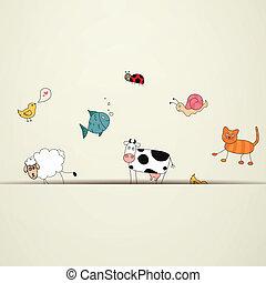 vektor, tecknad film, djuren