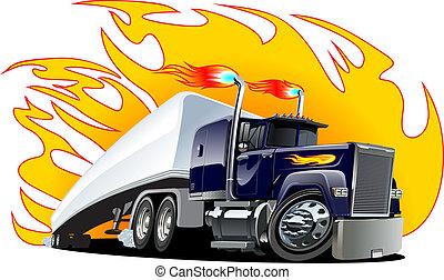 vektor, tecknad film, halv-, truck., one-click, repaint