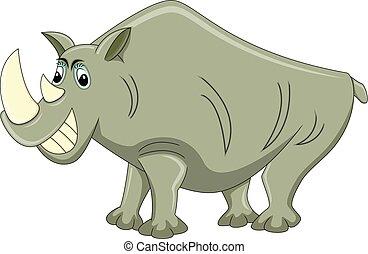 vektor, tecknad film, illustration, noshörningen