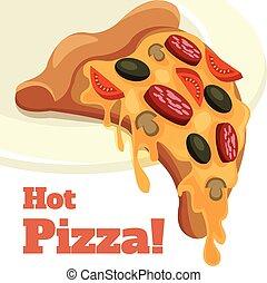 vektor, tecknad film, illustration, pizza