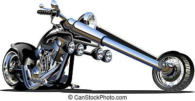 vektor, tecknad film, motorcykel