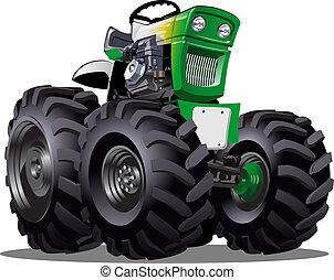 vektor, tecknad film, traktor