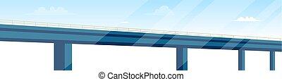 vektor, teckning, avbild, väg, bro, arkitektur