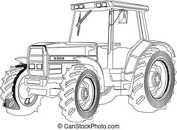 vektor, teckning, traktor