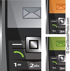 vektor, telefoner, sätta, sms