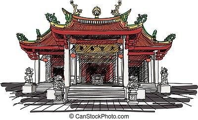 vektor, tempel, kinesisk