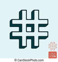 vektor, template., hashtag, etikett, ikon, skissera, symbol, illustration, design., ragu