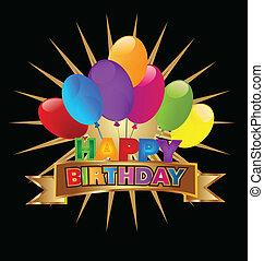 vektor, tervezés, születésnap, boldog