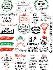 vektor, text, satz, overlays, weihnachten