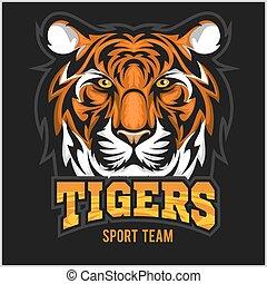 vektor, tiger, arc, sport, embléma